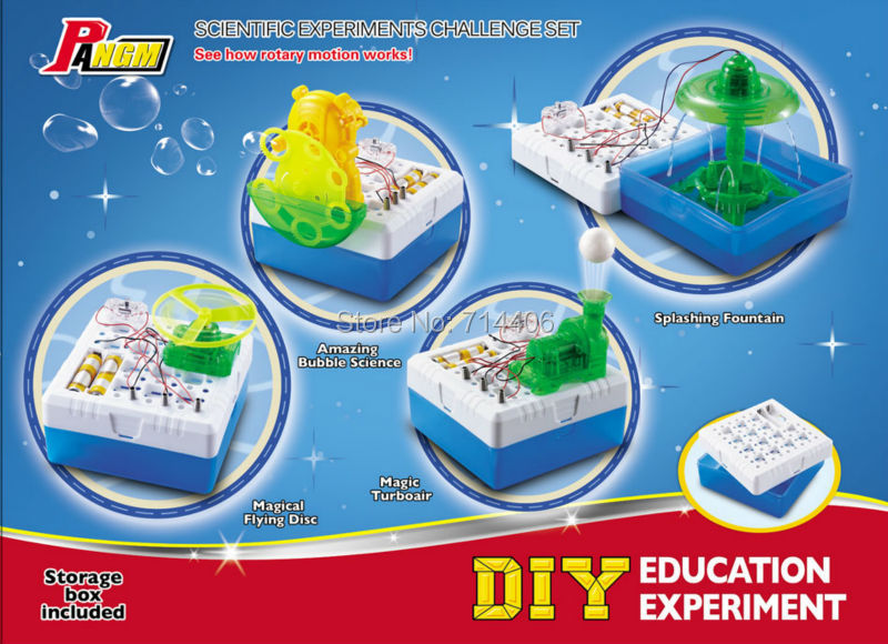 DIY smart electronic kit scientific experiment challenge set,flying disc,turboair,splashing fountain,amazing bubble 4style group get smart our amazing brain