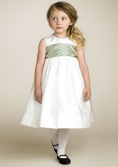 {{BIG DISCOUNT}}  Free shipping Lovely Satin A-line Tea-length Empire toddler pageant gowns Flower Girl Dresses for little girls
