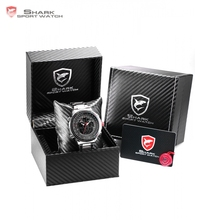 Luxury Leather Box SHARK Sport Watch Men Dual Time Date Alarm Steel Band Relogio Masculino LCD Quartz Digital Montre /SH325-329