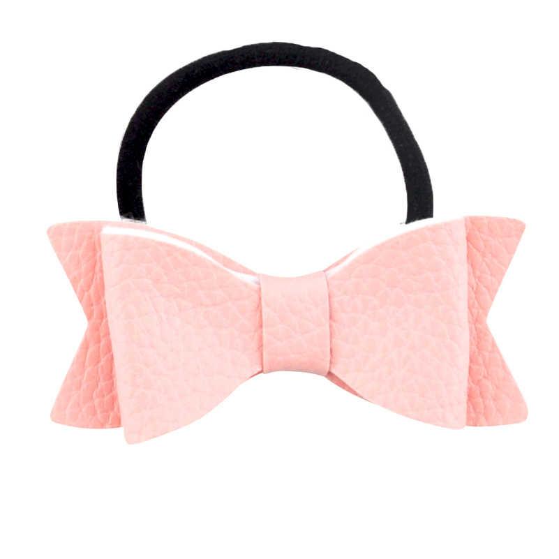 3 zoll Boutique Bowknot Haar Bogen Synthetische Leder Bögen Elastische Haar Bands Pferdeschwanz Haar Halter Für Kinder Mädchen