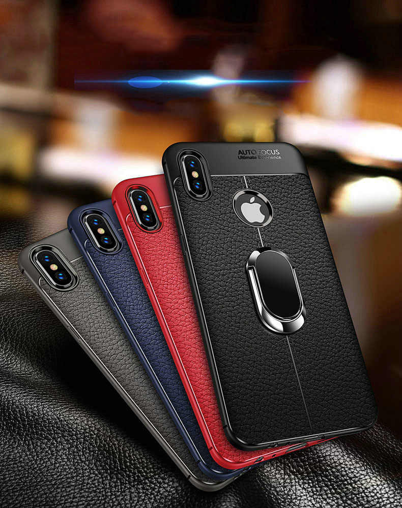 more photos 413d6 b1eb8 Soft Silicone Leather Back cover for iPhone X XR XS Max With Magnetic Car  Holder Case for iPhone 7 8 Plus 6 6S Plus 5 5S SE