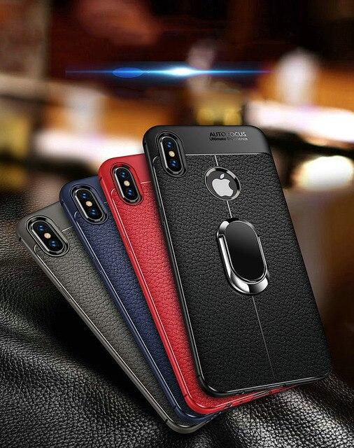 Couro tampa Traseira de Silicone macio para o iphone X XR XS Max Com Caso Suporte Para Carro Magnética para iPhone 7 8 além de 6 6 S Plus 5 5S SE