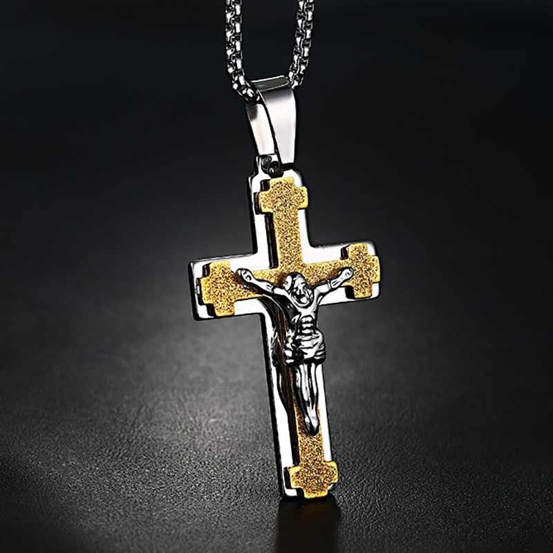 Mprainbow Men's Jewelry Stainless Steel Antique Jesus Sentenced to Be Crucified Cross Crucifix Pendant Necklace For Men 24 Inch