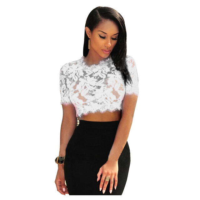 6970b30be197 EAS-Women's See Through Floral Lace Crop Top Crochet Hollow Out T-shirt  Midriff Tops