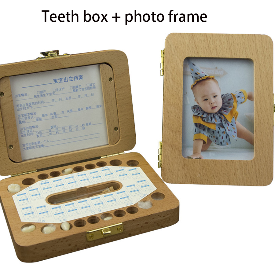 2 In 1 Wooden Baby Tooth Box + Baby Photo Frame English Text Child Kids Tooth Storage Box Organizer With Free Accessories New