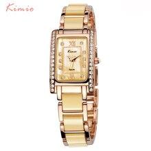 KIMIO Rectangle Square Watch Women 2018 Luxury Brand Rhinestone Quartz Black Chinese Ladies Bracelet Womens Wristwatch
