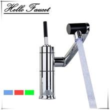 LED 3 цвета Полезная кухня для ванной Водопад Хром шар готовой 360 Поворотный кран смеситель умывальник раковина кран