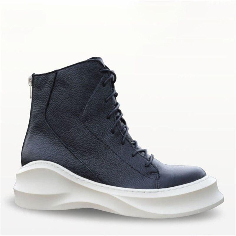ลูกไม้ขึ้นรูปนางแบบหนังแท้แบรนด์แฟชั่นชายสบายๆhightopรองเท้าสูงรองเท้าสูงด้านบนหนาแต่เพียงผู้เดียวแพลตฟอร์มฮาราจูกุรองเท้าผู้ชาย-ใน รองเท้าบู๊ทมอเตอร์ไซค์ จาก รองเท้า บน   2