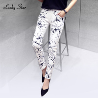 2017 Fashion Slim Printed White Denim Jeans Woman Skinny Jeans Pants American Apparel Women Robin Jeans