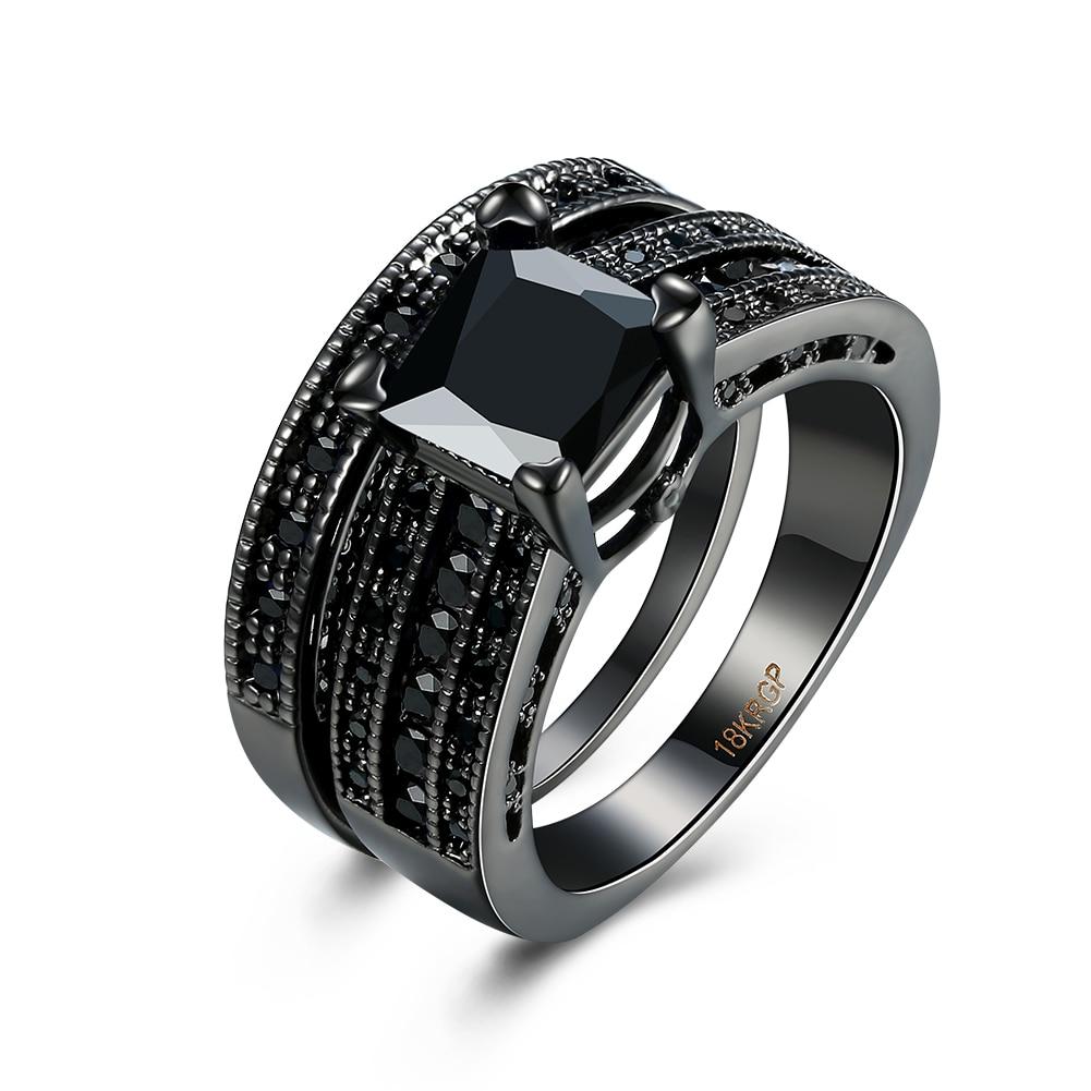 simulated exquisite black onyx ring black gold filled engagement wedding ring size 6 7 8 9 - Onyx Wedding Ring