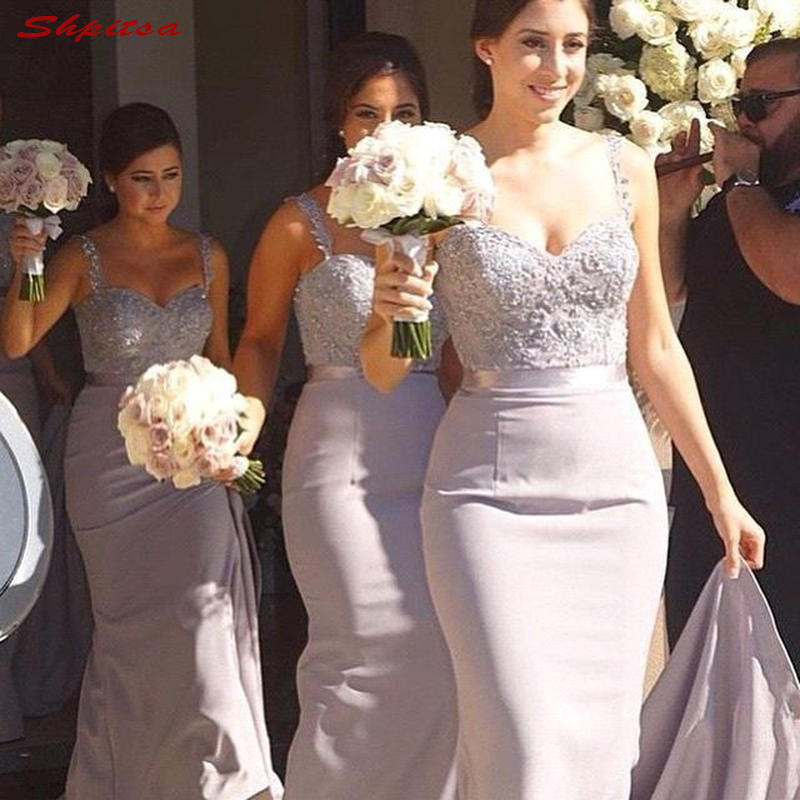 Lace Grey Bridesmaid Dresses Long for Wedding Party Women Spaghetti Straps Brides Maid Dresses