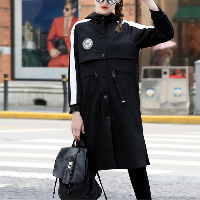 New Fashion Women Long Hooded Coat Casual Slim Black Drawstring Windbreaker Autumn Trench Coat GM8406