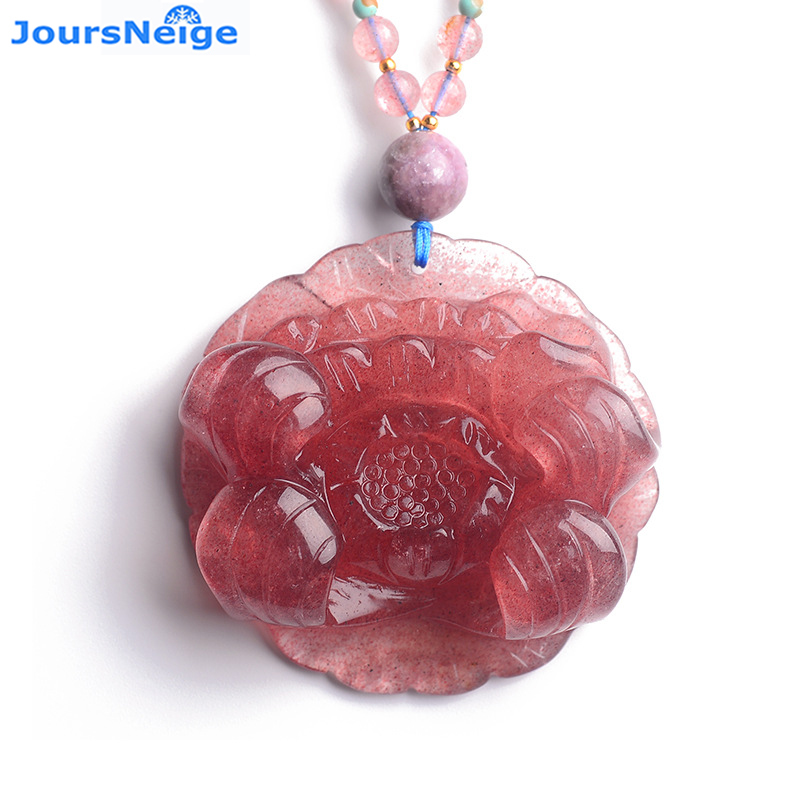 Fine Red Strawberry Natural Crystal Pendants Hand Carved Rich Peony Flower Beads Sweater Chain Necklace Lucky for Women Jewelry graceful heart beads sweater chain for women