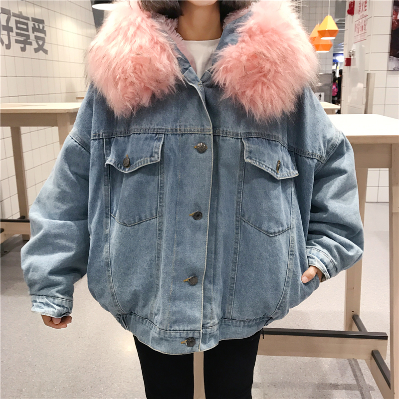 BONU Winter Fur Denim Jacket For Women Thick plus size Loose Casual Jean Coat Single Breasted Winter Jean Jacket chaquetas mujer 1