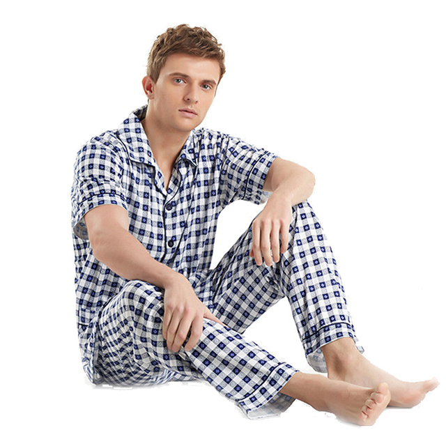 Men s Sleep   Lounge Cotton Plaid Pajama Sets Short-Sleeved Sleepwear Plus  Size Pyjamas Men 84828980b
