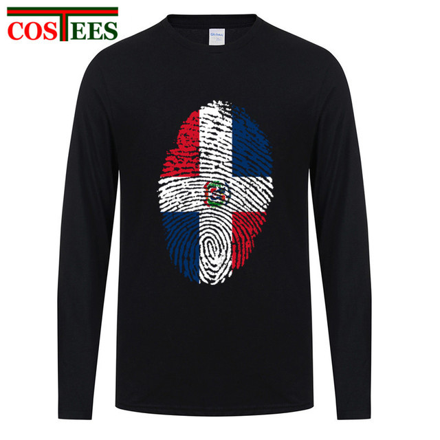 d4279a44 T shirt 2017 Long Sleeves cotton Dominican Republic Flag Fingerprint T  Shirts Men Casual Dominican Independence