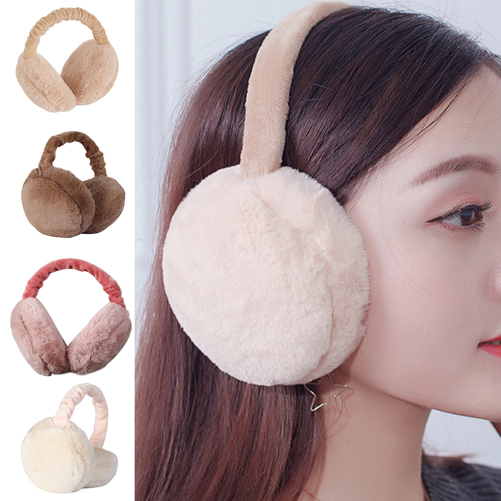 Women Winter Foldable Earmuffs Protector Headband Ear Warmer Faux Fur Earlap Adjustable Full Surround
