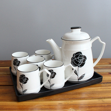 Europe tea pot set bone china Rose home party coffee cups Teapot Teatime Afternoon Water cup drink