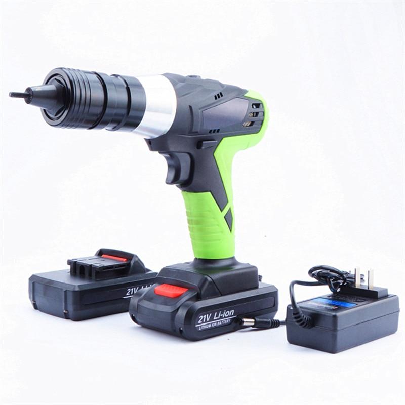 21v portable cordless electric rivet gun rechargeable riveter battery riveting tool pull rivet nut tool 2 battery M3/M4 head