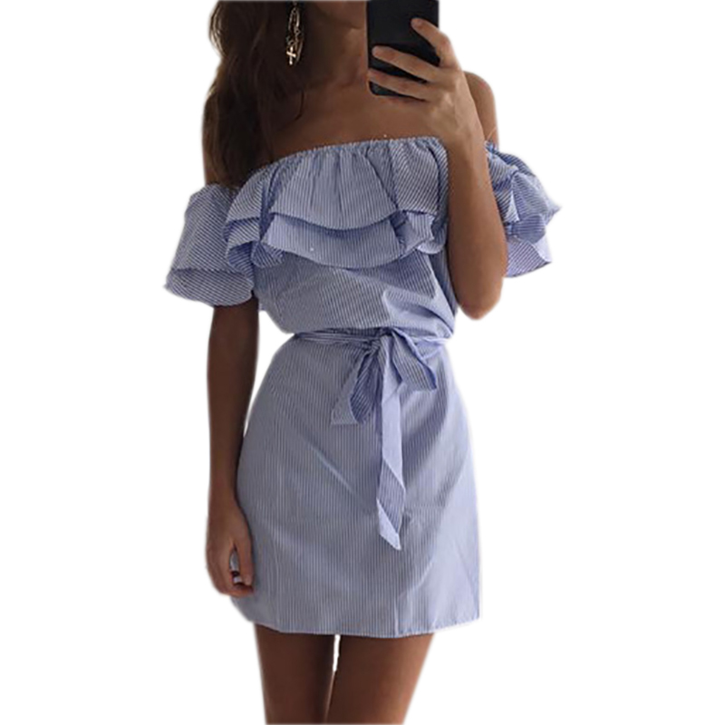 Rayas sexy dress lindo ruffles slash cuello mini dress summer mujeres niñas raya