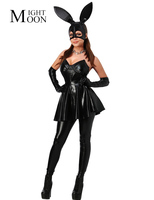 MOONIGHT Bunny Costume Rabbit Lady Role Playing Sexy Suit DS Dance Costume Stage Uniform Women Dress+Pants+Gloves+Mask+Head Band