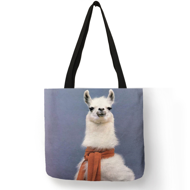 Cute Animal Pattern Tote Bag for Girls Vivid Alpaca Painting Eco Linen Large Capacity Shoulder Bag Reusable Shopping Bags