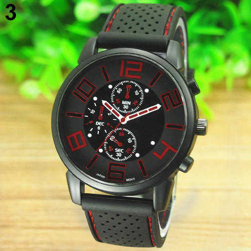 17 Men's Casual Sports Stainless Steel Silicone Band Quartz Analog Wrist Watch Fashion Style Water Proof 5