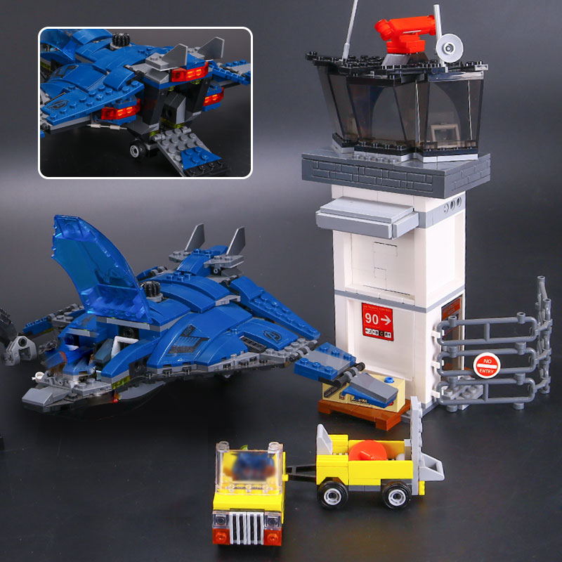 LEPIN 07034 Super Heroes Airport Battle Quinjet Ant-Man Winter Soldier Building Set DIY Blocks Compatible 76051 Educational Gift