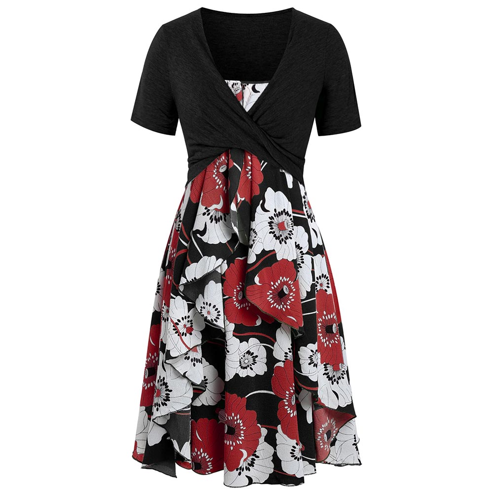 COSMERA grande taille imprimé Floral été Boho robe avec croisé cultures hauts femmes robe en mousseline de soie Sexy a-ligne Midi robes de plage