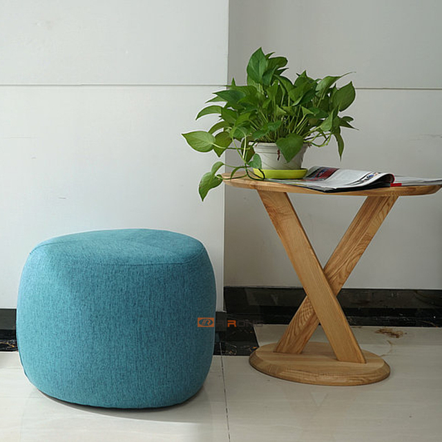 Fashion home office sofa oval stool fabric art living room round wooden creative small stool with foot