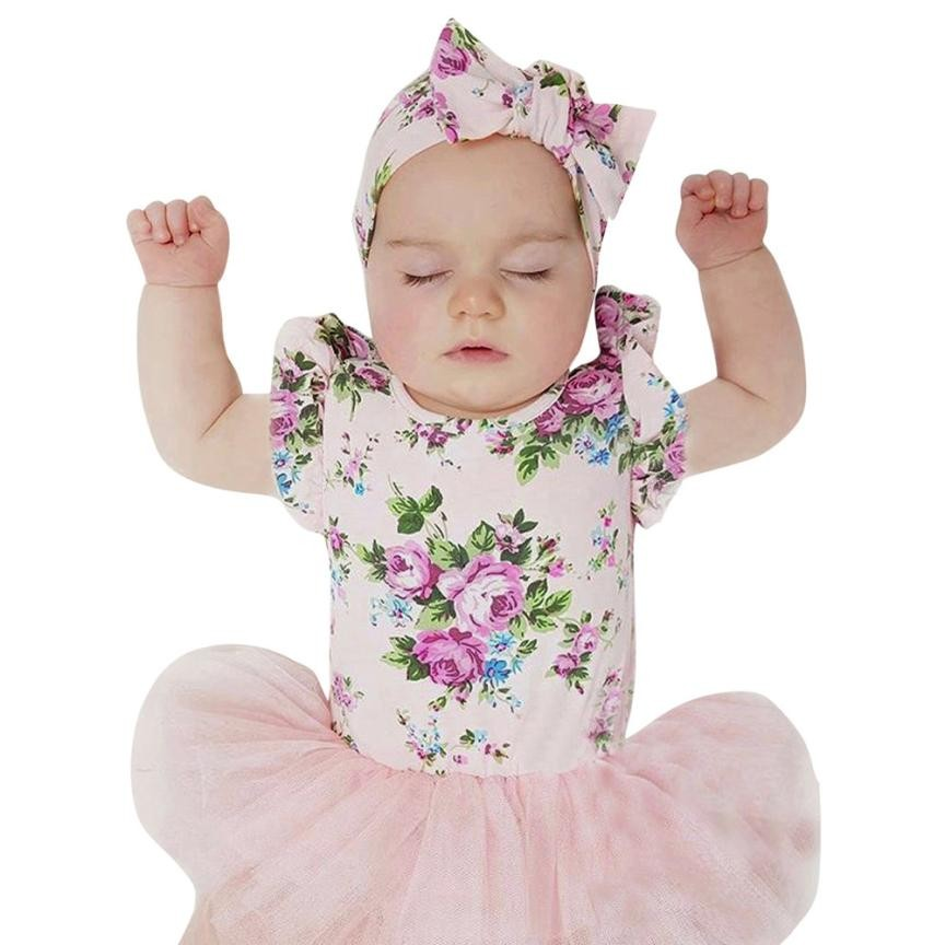 MUQGEW Baby Girls Infant Floral Lace Tutu Sleeveless Clothes Jumpsuit Romper Dress Vestidos De Noiva 1 Year Birthday Dress