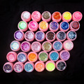New 36Pcs Mix Color Glitter Hexagon Sheet Nail Art UV Builder Gel for False Tip Set PINK POT