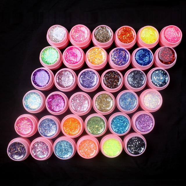 New 36Pcs Mix Color Glitter Hexagon Sheet Nail Art UV Builder Gel for False Tip Set PINK POT