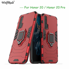 Honor 20 Pro Case TPU Hard PC Honor 20 Case Ring Holder Stand Magnetic Armor Case For Huawei Honor 20 Pro YAL-AL10 6.26 yal l41 yal l21 honor 20 pro fashion magnetic business case for huawei honor 20 pro artificial leather wallet flip stand cover