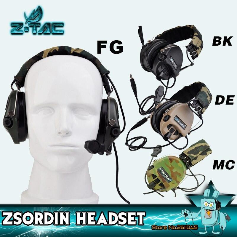 Z-TAC съемка тактическая гарнитура Sordin активный пикап шумоподавление Airsoft тактическая гарнитура для Walkie-talkie Z111-0