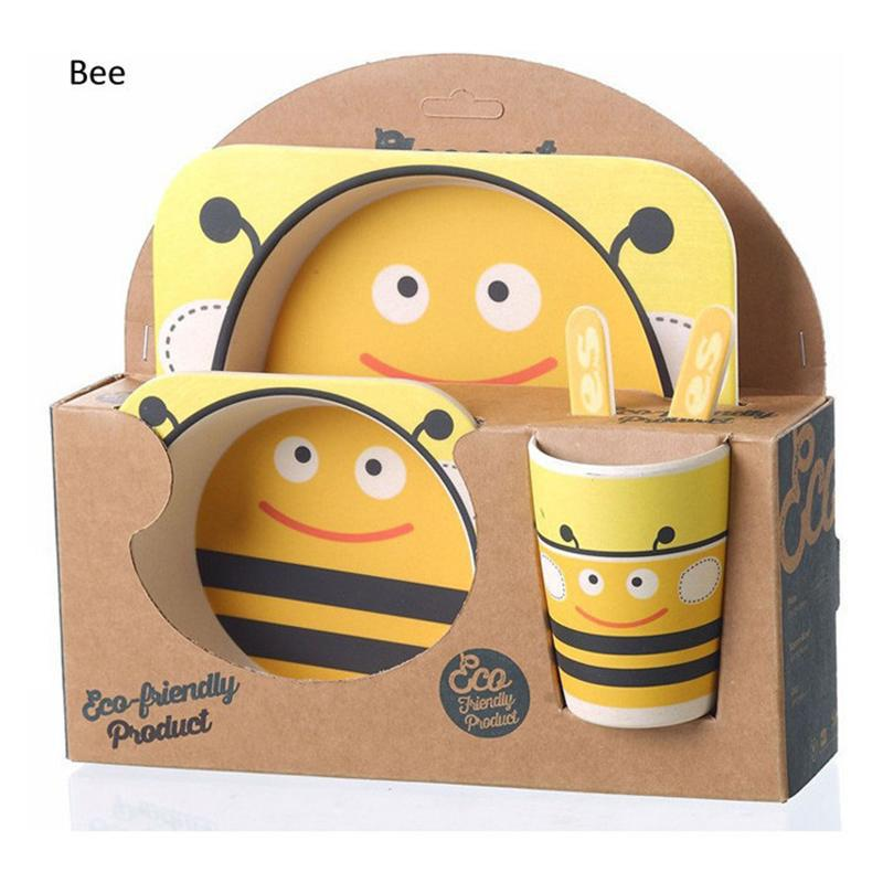 Baby Kids Safe Bamboo Fibre Dinnerware Eco Friendly dishes Plate Square Bowl <font><b>Cup</b></font> Spoon fork <font><b>Zoo</b></font> <font><b>Animal</b></font> prato platos infantil