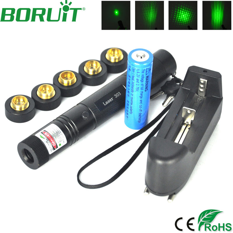 BORUiT 303 5mw Laser Flashlight Green/Red Laser Pointer Portable Tactical Camping Hunting Torch Lights Burning Matches