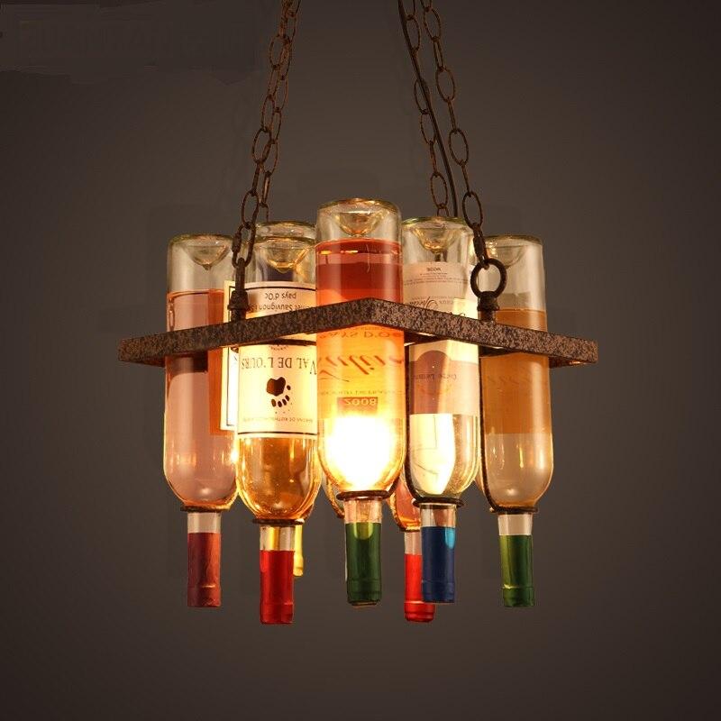 Творческий винный шкаф дизайнер Открытый Подвесные Светильники с мансардой баров, ресторанов кафе пространство бутылки искусство лампы ...