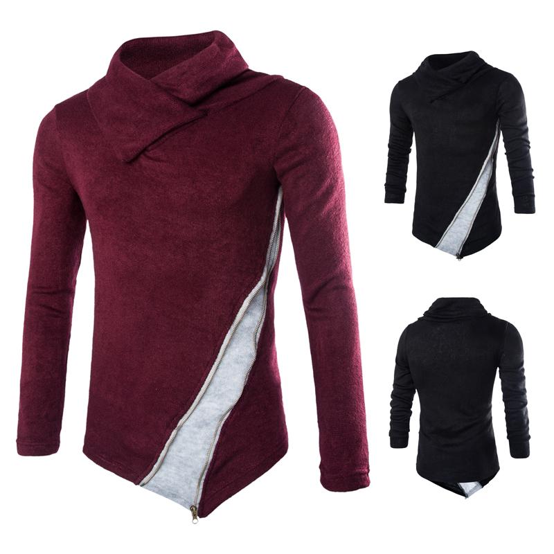 Men's Lapel Sweater Casual Knitting Sweaters Stacked Collar Men Pullovers Slim Men's Turtleneck Pullover 1X Men's Lapel Sweater