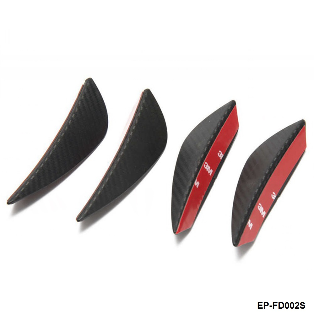 4pcs Universal Fit Front Bumper Lip Splitter Fins Body Spoiler Canard Valence Chin Carbon fiber Color EP-FD002S-AF fit 05 06 07 08 09 10 11 12 13 chevy corvette c6 base front bumper lip splitter spoiler pu