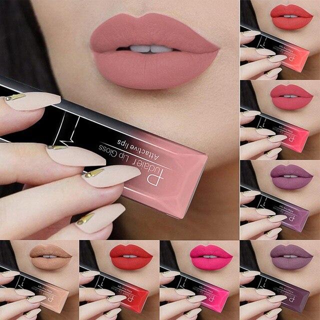 PUDAIER brillo de labios Sexy lápiz labial metálico brillo de labios de larga duración del pigmento del tatuaje mate lápiz labial líquido maquillaje labios brillo de labios