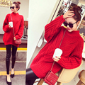 Free Shipping New fall promotion Korean women thick loose half high collar and long sections solid color knit sweater Europe