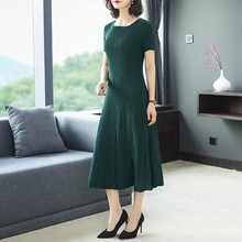 miyak Summer wamen dress 2019 new womens solid color wrinkle slim slimming elegant high-end casual midi Vestidos