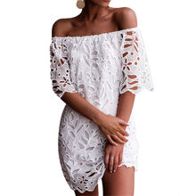 Women Summer Hollow Out Lace off the shoulder White Mini Dress Casual Party Princess Dresses off the shoulder hollow out lace skinny slimming dress