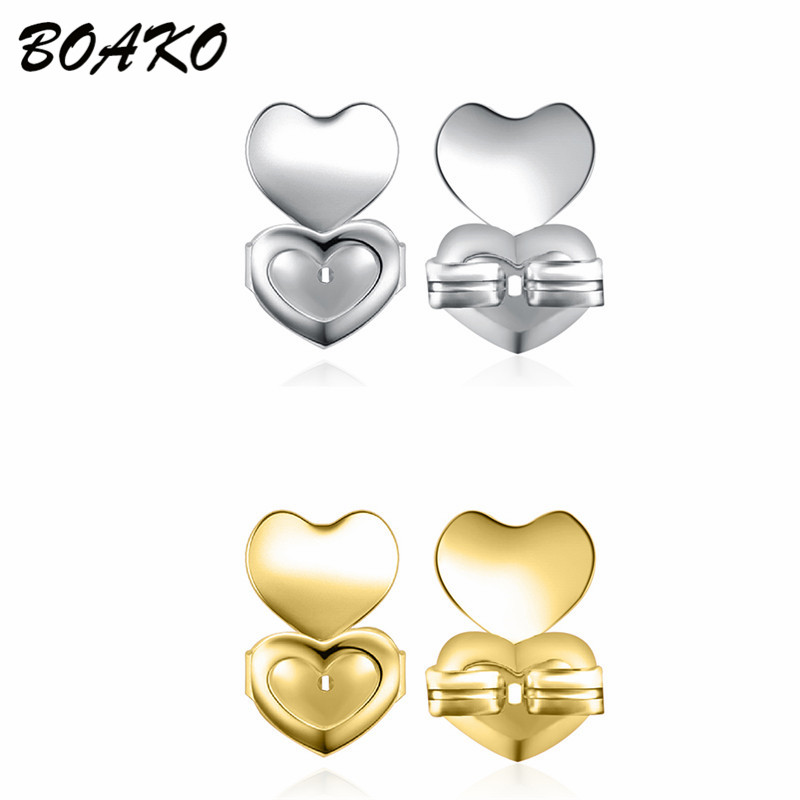 BOAKO 2 Pair Gold And Silver Magic Earring Backs Support Earring Lifts Fits All Post Earrings Set Hypoallergenic Ear Accessories