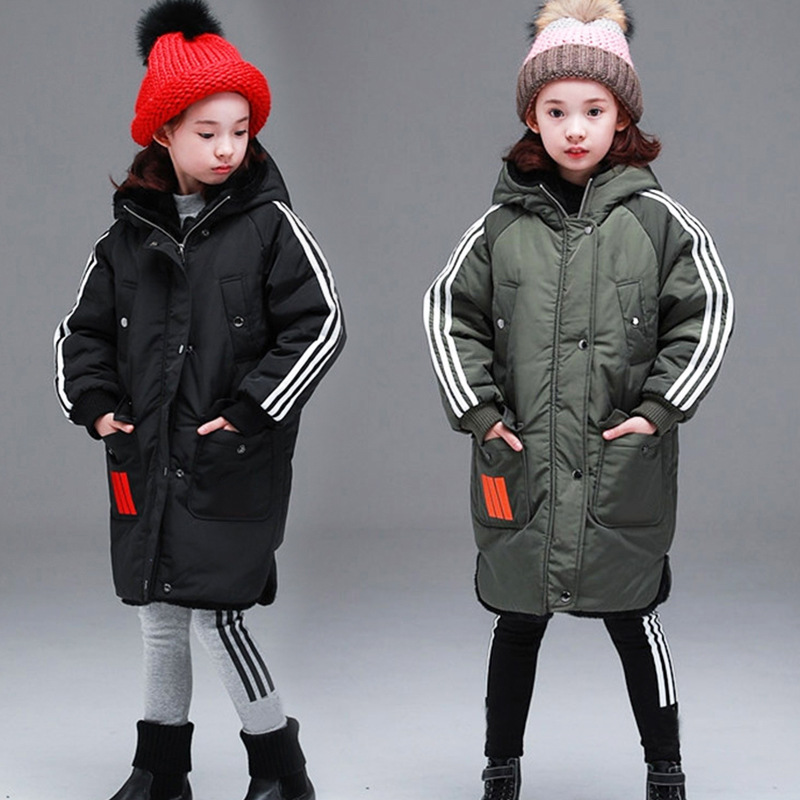 2018 Winter Kids Padded Jackets Girl Thicken Hooded Warm Fur Collar Cotton Jackets Kids Outerwear Cotton Padded Parkas Jackets