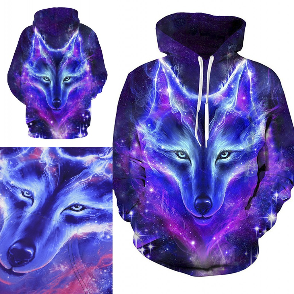 2019 Hot Space Galaxy Wolf Hoodies Male Fashion Pullover