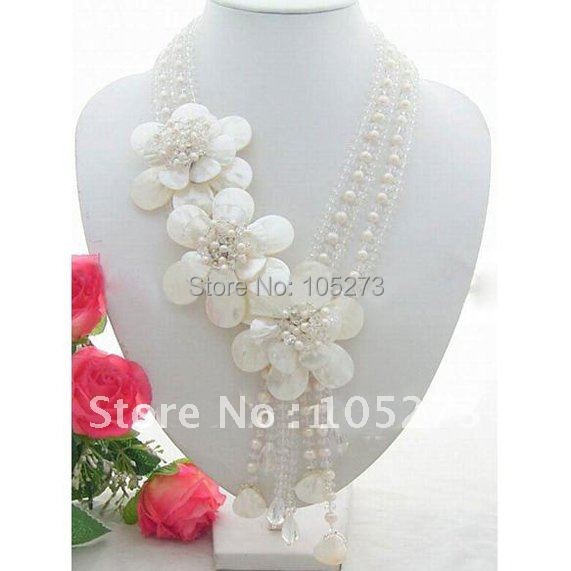 купить Beautiful! 5Strds Pearl & Crystal & White Color Sea Shell Flower Necklace Beautiful Style Women's Jewellery Free Shipping FN1789 онлайн