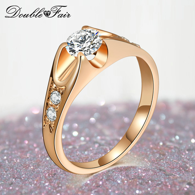 Double Fair Brand 0.5 Carat Cubic Zircon Wedding Rings For Women Rose Gold/Silve