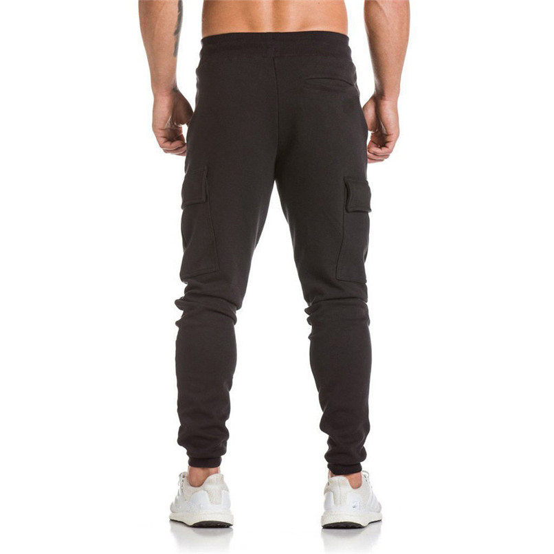 Cotton Men Full Sportswear Pants Casual Elastic Cotton Mens Fitness Workout Pants Sweatpants Trousers Jogger Pant #F40OT31 (9)